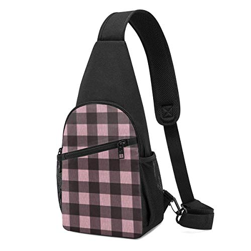 GIERTER Textured Buffalo Plaid Pink And Black Sling bag,Lightweight Backpack chest pack crossbody Bags Travel Hiking Daypacks for Men Women