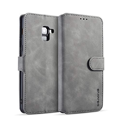 zanasta Echt Ledertasche kompatibel mit Samsung Galaxy A8 Plus (2018) Hülle Premium Leder Tasche mit Kartenfächern, Schutzhülle Grau