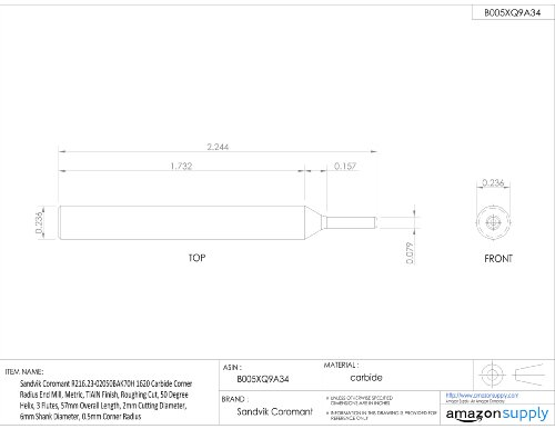 3 Flutes AlTiN Monolayer Finish 0.0625 Cutting Diameter 1.5000 Overall Length 30 Deg Helix Melin Tool EMG-B Carbide Micro Ball Nose End Mill 0.125 Shank Diameter