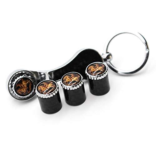 HIGGER 1 Satz diebstahlsichere Ventilkappen Universal Auto Staubkappen Ventilschaftabdeckung Schraubenschlüssel Schlüsselbund für Auto/Motorrad/Fahrrad