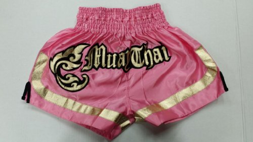 Woldorf USA MMA Boxing Muay Thai Shorts in Satin Royal Pink Gold cutt Letters Size XL Martial Arts, Sparring Fitness Gym Equipment Grappling Shorts, Kickboxing Shorts