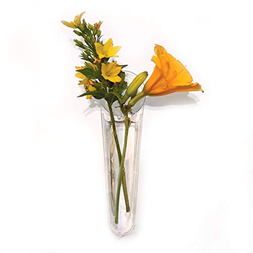Gadjit Vinyl Mini Window Vases Gift Pack - Includes 3, Vases Suction to Windows and Mirrors, Holds Flower Stems and Water, Clear Flexible Vinyl