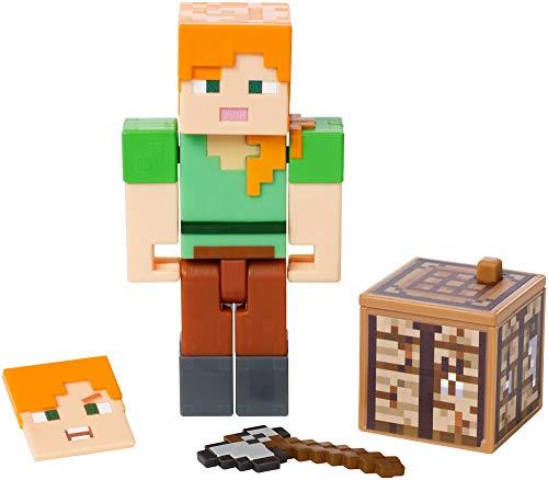 Minecraft Alex, figura de acción con libro de historietas para niños y niñas +6 años (Mattel GCC12)