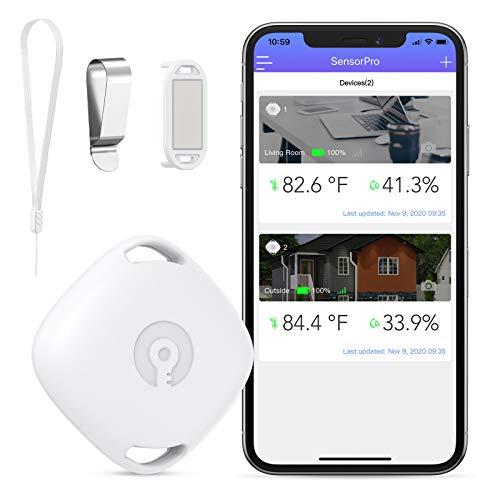 Brifit Termómetro Higrómetro, Bluetooth Sensor de temperatura de humedad con exportación de datos, monitor de humedad de temperatura con alerta de notificación, para invernadero, funda guitarra