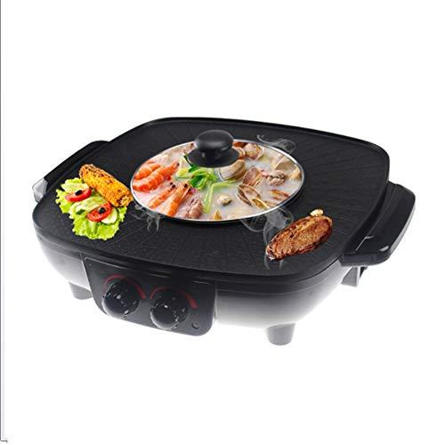 YJIUJIU Barbecue Hot Pot, Barbecue électrique Revêtement sain sans Fumée et Non-bâton Hot Pot Électrique Plaque de Cuisson électrique Double Contrôle de la Température, 1500W,Black