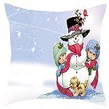 AMhomely Merry Christmas - Juego de funda de almohada para sofá, decoración del hogar, 45 x 45 cm, decoración navideña, decoración navideña