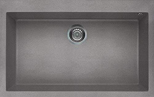 Elleci LGQ13048 Kitchen Sink Made of Granite (Granitek) with a Single Bowl Quadra 130-G48 Cemento-LGQ13048, Cemento