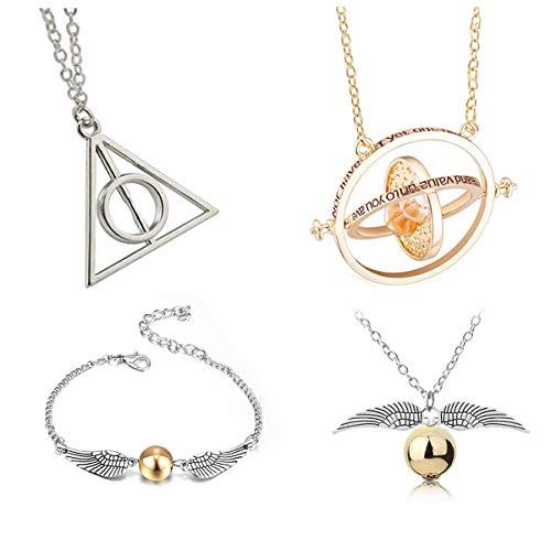 4 Stück Inspired DIY Necklace -Time Turner Halsketten Heiligtümer des Todes Goldenen Schnatz Halskette und Armbänder für HP Fans Geschenke Sammlungen Cosplay Kostüm