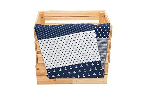 Colcha para bebé de ULLENBOOM ® con Azul ancla (manta de arrullo para bebé de 70x100 cm, ideal colcha para el cochecito; apta alfombra de juegos)