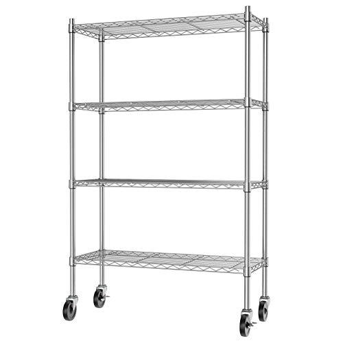 Auslar 4-Shelf Storage Shelves with Casters Heavy Duty 4 Tiers Rolling Cart Utility Racks Adjustable Wire Metal Shelving, Chrome