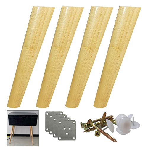 WYYAF 4-teilige Möbelbeine aus Massivholz, konisch zulaufende Tischbeine, Standbeine für Holzsofas, Tragfähigkeit bis 400 kg, optional 10-70 cm (40 cm)