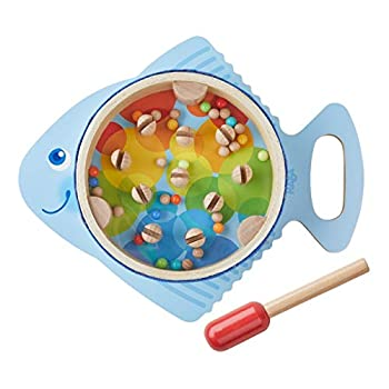 HABA Musical Drumfish - 3 Percussion Instruments in 1 - Drum Rhythm Stick & Maraca - Brightly Colored for Ages 2+