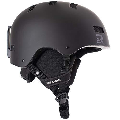 Retrospec Traverse H1 Ski & Snowboard Helmet, Convertible to Bike/Skate, Matte Black, Large (59-63cm)