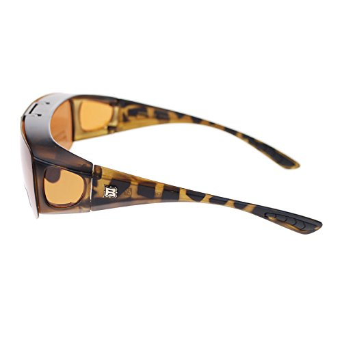 Barricade Large Mens Polarized Flip Up Fitover Sunglasses (tortoise brown, 2.75)