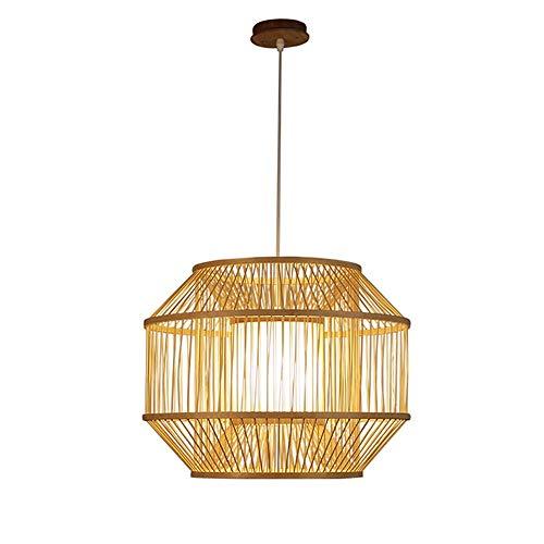 PGONE Linterna Colgante De Madera Natural Lámpara De Bambú Hecha A Mano Estilo del Sudeste Asiático Lámpara Colgante Lámpara De Techo Accesorio Lámpara De Tela Pantalla E27