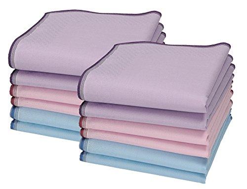 Betz 12 Stück Damen Stoff Taschentücher Set Chanelle 1 Größe 30x30 cm 100% Baumwolle Dessin 86