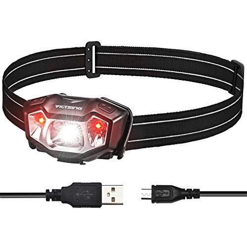 VicTsing Linterna Frontal LED Recargable con 50H de Autonomía, Linterna Cabeza Ultra Ligera de Alta Potencia, 6 Modos de Luz, Impermeable IPX6, Ajustable 90º para Running, Trabajo, Pesca y Camping (Herramientas y Mejora del hogar)