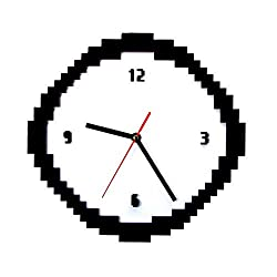 Xinxin Wall Clock Pixel Time Clock 8 Bit Style Retro Pixel Wall Clock Black and White Jagged Old Pixels Pixelated Analog Home Decor Gift for Geeks Simple and Generous Stylish Durable