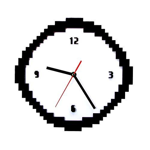 YJSMXYD Reloj De Pared Pixel Time 8 bit Estilo Retro Pixel Blanco Y Negro Dentado Píxeles Viejos Pixelated Analógico Geeks Sala De Estar Decoración para El Hogar Oficina Hotel Regalo Creativo