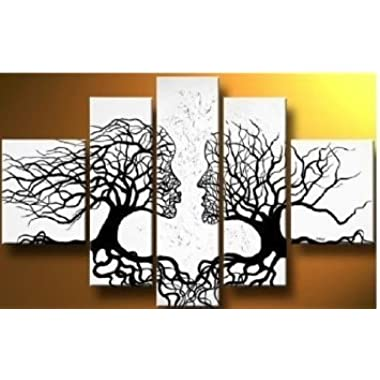 Wieco Art Wind Floating Tree 5 Panels Abstract People Oil Paintings on Canvas Wall Art Ready to Hang for Bedroom Home Decorations Modern Contemporary 100% Hand Painted Stretched and Framed Artwork