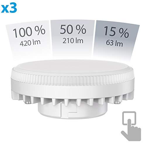 ledscom.de GX53 LED Strahler 6W=38W 420lm weiß 3-Stufen(1. Stufe= 420lm 2. Stufe= 210lm 3. Stufe= 63lm) Stufendimmer 100% 50% 15%, 3 STK.