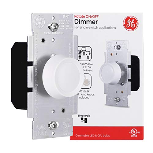GE Single Pole Rotating Dimmer Switch, Push On/Off, Use with Dimmable LED, CFL, and Incandescent Bulbs, Includes Two Knob Colors, UL Listed, White/Light Almond, 18021