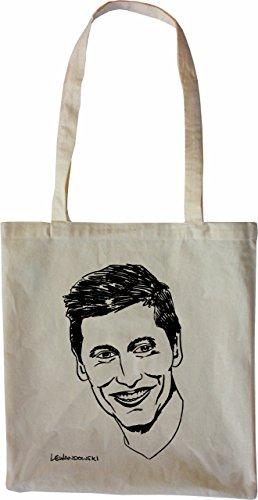 Mister Merchandise Tasche Robert Lewandowski Stofftasche, Farbe: Natur