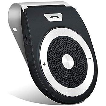 Smake Vivavoce Bluetooth 4.1 da Auto con Controllo Vocale, Car Bluetooth per Speakerphone, Kit Vivavoce Bluetooth per Smartphone - Nero