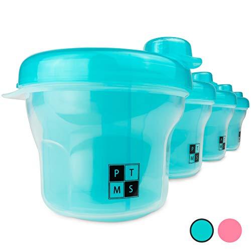 PTMS® [4 PEZZI] Dosatore Latte in Polvere - Pacchetto Vantaggioso - 4 Contenitori Pappa Neonati per portare Latte Polvere e altri Spuntini in Viaggio - 100% senza BPA - Blu