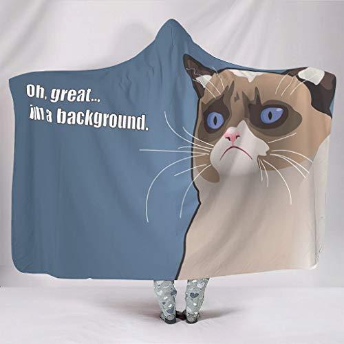 Fineiwillgo Manta con capucha con diseño de gato con texto en alemán 'Ich bin ein Great Backkatze', de microfibra, muy suave, para estudiantes, de peluche, para vacaciones, color blanco, 130 x 150 cm