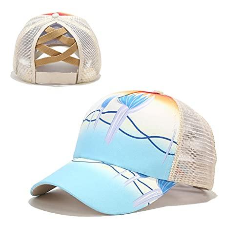 Gorra de béisbol de Cola de Caballo para Mujer, Gorras de Camionero de algodón Lavado Desgastado, Gorra Snapback de Verano Informal, Sombreros de papá con Borde Brillante-New-19
