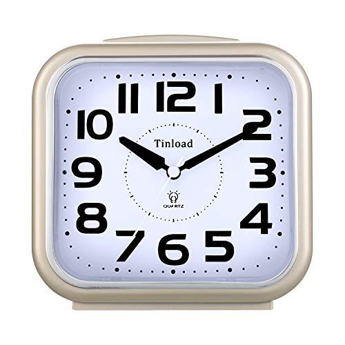 5.5 Zoll Leise Analog Wecker ohne Ticking, sanftes Aufwecken, Pieptöne, Lautstärke erhöhen, batteriebetriebene Schlummer- und Lichtfunktionen, Einfache Einstellung (Gold)