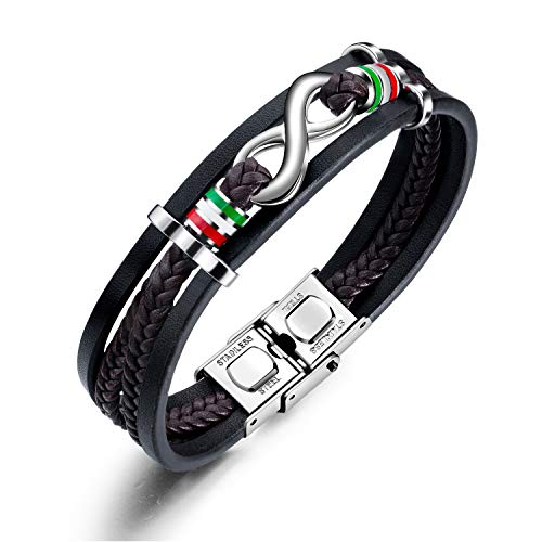 INFINIONLY Mehrschichtiges gewebtes Leder Armband für Herren, Unendlichkeits Symbol Edelstahl Armband, Edelstahl Schnalle, Weihnachten Geburtstag Geschenk