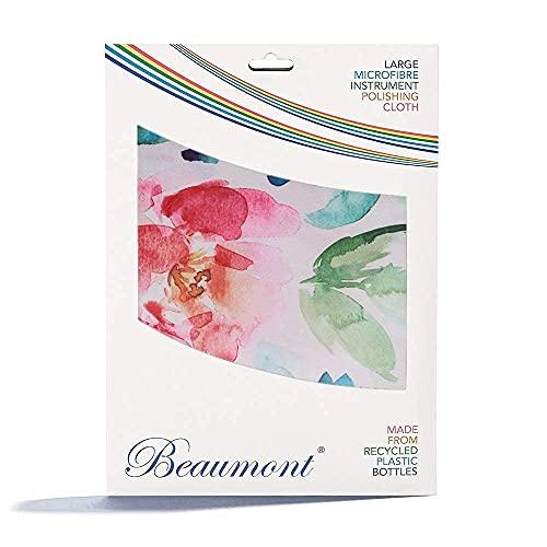 """Beaumont\""""Painted Blooms\"""" Musikinstrument Poliertuch, Recyceltes Mikrofasertuch, Reinigungstuch, Messing Silber 40x30cm Instrumente, Trompete, Klarinette, Saxophon, Querflöte"""