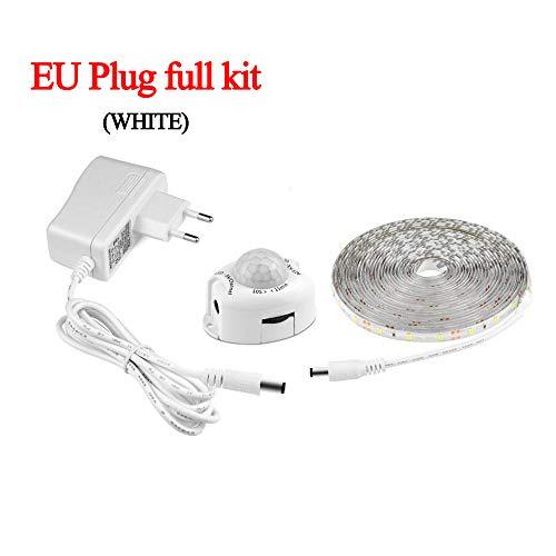 LED Light Strip, Draadloze PIR bewegingsmelder, 12V Automatisch aan/uit, geschikt voor trapkast Keuken Night Light 220V 1M 2M 3M 4M 5M (volledige set van EU-stekkers),White 4m