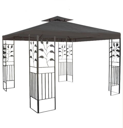 habeig WASSERDICHTER Pavillon TOSKANA 3x3m Metall inkl. Dach Festzelt wasserfest Partyzelt (Anthrazit)