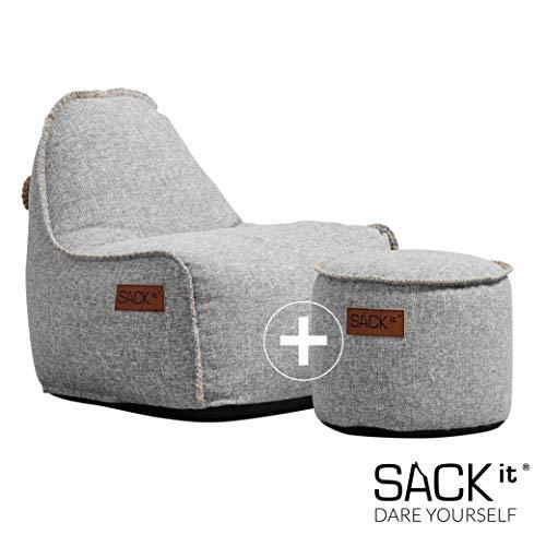 SACKit - RETROit Cobana Junior Light Grey - Hellgrau Indoor/Outdoor Sitzsack mit Hocker für Kinder. Sessel mit Lehne. Für das Kinderzimmer oder Gaming im Jugendzimmer