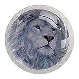 qfkj Tirador de la Perilla del cajón 4 Piezas El cajón del gabinete de Vidrio de Cristal Tira Las perillas del Armario,León Blanco