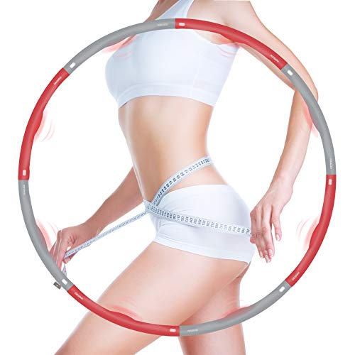 HAIGOU Hula Hoop Reifen für Kinder Erwachsene, Zusammenklappbare & Einstellbare Fitness Ubung Hula Hoop zur Gewichtsreduktion (1.2Kg)