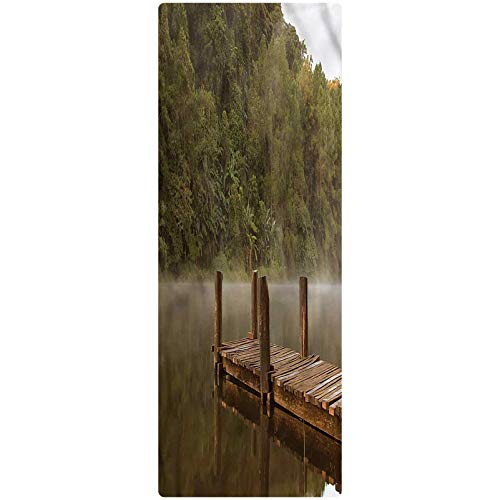 Landscape Runner Rug, 2'x4', Pier in Lake Trees Forest Plush Decorative Kitchen Mat with Non Slip Backing for Kitchen/Tub/Living Room