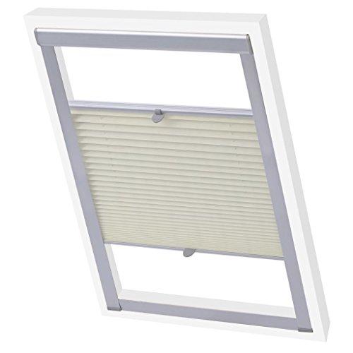 vidaXL Store plissé Velux Crème M04/304/MK04 Store pour fenêtre Protection Solaire