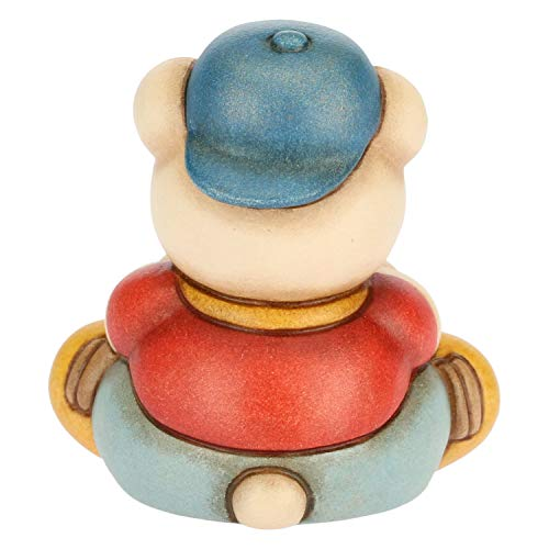 THUN - Soprammobile Teddy Bimbo Seduto con Pallone - Bomboniera - Cameretta Bambini - Linea I Classici - Formato Piccolo - Ceramica - 5,7 h cm