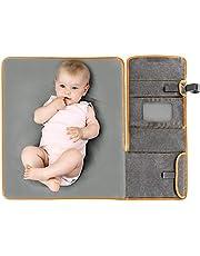 Zamboo Cambiador Portátil de Pañales para Bebé - Kit Cambiador de viaje con esterilla de 60x50 cm - plegable, impermeable y lavable - Gris Jaspeado