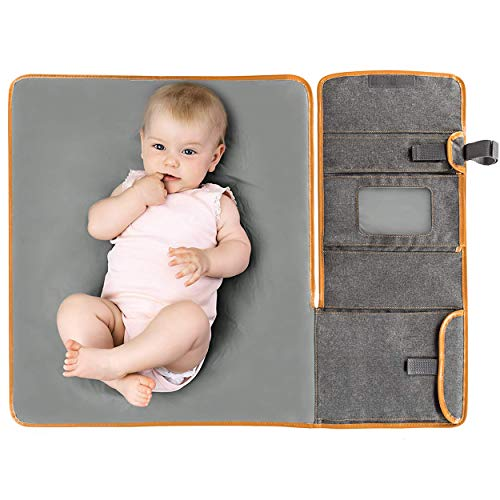 Zamboo Tragbare Baby Wickelunterlage für unterwegs - Faltbare Reise Wickeltasche mit abwaschbarer Wickelauflage 60x50 cm und Befestigung für Kinderwagen - Melange Grau