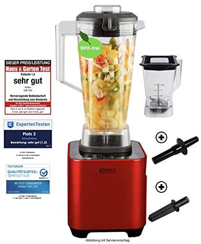KeMar Kitchenware KSB-200 R Hochleistungsmixer, Standmixer, LED Touch Bedienung, 1.500W, 30.000 U/min, inkl. 1 + 2 Liter Behälter BPA-frei, 6 Programme, manuelle Einstellung, Rot Metallic