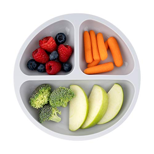 Table-Tot 3-Compartment Plate for Kids, Baby-Safe Silicone, Suction Plates for Toddlers by Juliaire (Gray)…