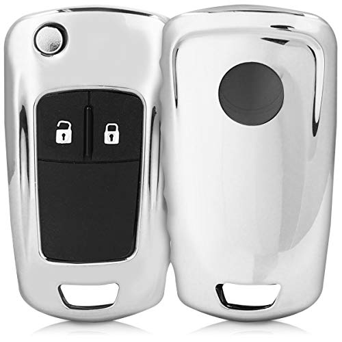 kwmobile Autoschlüssel Hülle kompatibel mit Opel Vauxhall 2-3-Tasten Klappschlüssel Autoschlüssel - TPU Schutzhülle Schlüsselhülle Cover in Hochglanz Silber