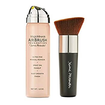 MagicMinerals AirBrush Foundation by Jerome Alexander – 2pc Set with Airbrush Foundation and Kabuki Brush - Spray Makeup with Anti-aging Ingredients for Smooth Radiant Skin  Light