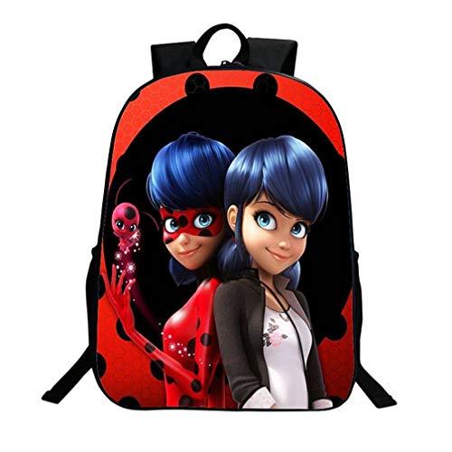 MJUN Lady Bug Backpack 16Inch Girls Marinette Cosplay School Shoulder Bag Daypack, Red, Large
