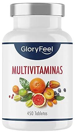 Multivitaminas y Minerales - 450 Comprimidos Veganos (Suministro para 1+ año) - Todas las Vitaminas A,B,C,D3,E, Calcio, Zinc, Selenio – Multivitamínicos Activos Esenciales para Hombres y Mujeres